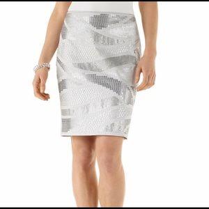 White House Black Market gray sequin pencil skirt